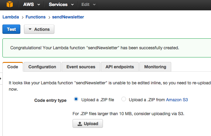 upload zip to aws lambda